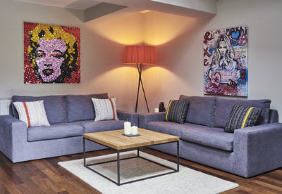 Riproduzione Pop Art di Marilyn Monroe in paillettes per interior design