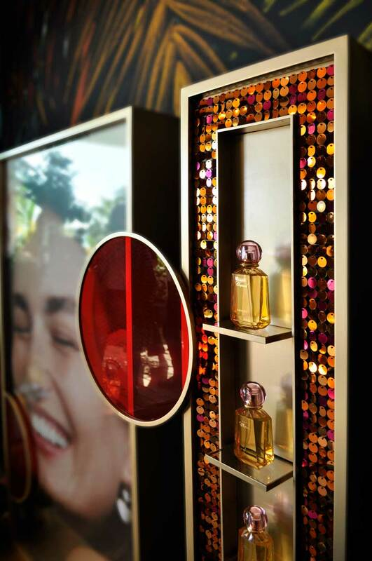 Stunning sequin wall for Chopard's prestigious perfume POS displays