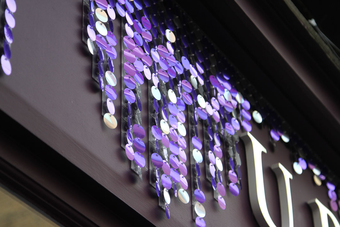 Amazing sequin walls and signs for visual merchandising